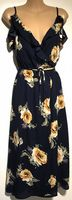 PRETTY LITTLE THING NAVY FLORAL FRILL MIDI DRESS NEW SIZES 10 & 12